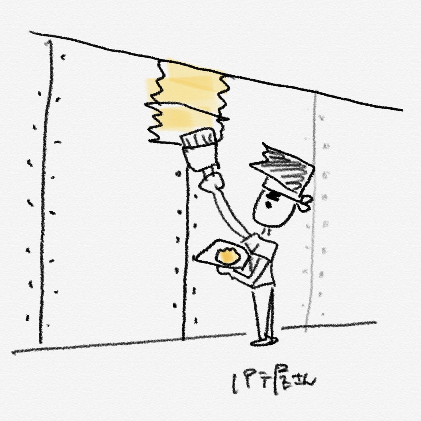 パテ屋さんがパテ処理をする。